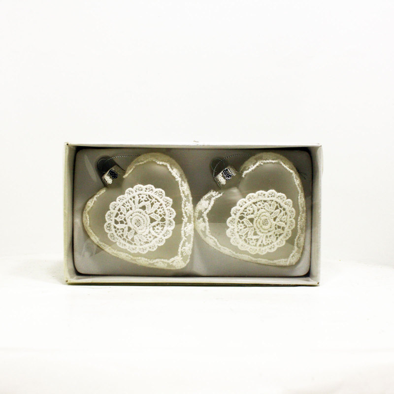Box 2 palline natale vetro a forma di cuore decorazioni albero - Decorazioni vetro ...