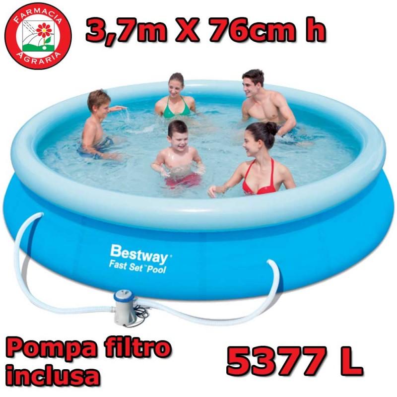 Piscina rotonda bestway 3 66m x 76cm pompa filtro inclusa for Pompa x laghetto con filtro