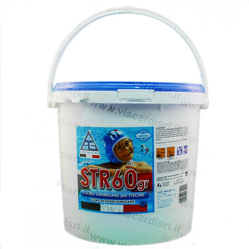 Cloro piscina 5 kg str60gr azione igienizzante for Cloro nelle piscine