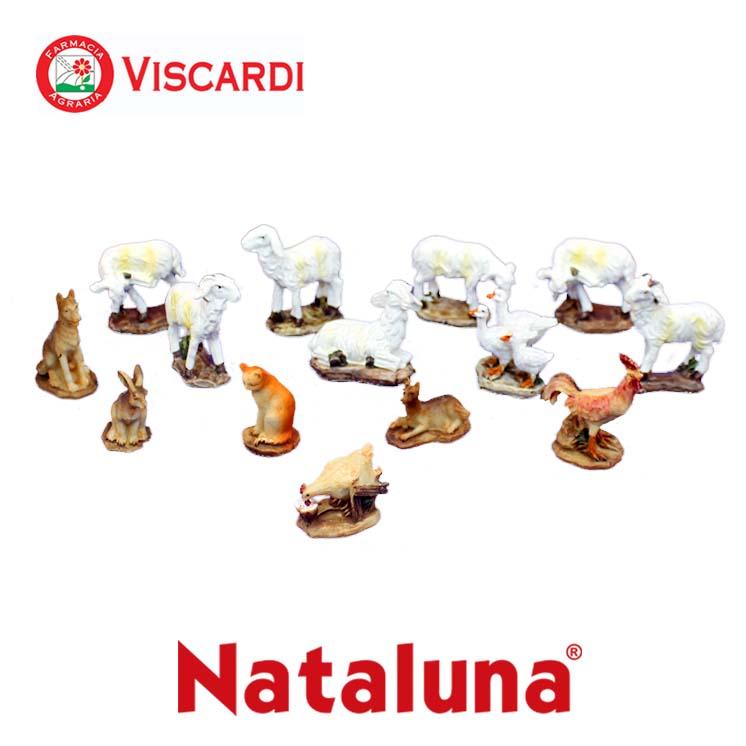 Animali per presepe set 14 figure 4 cm nataluna in resina for Animali da laghetto artificiale