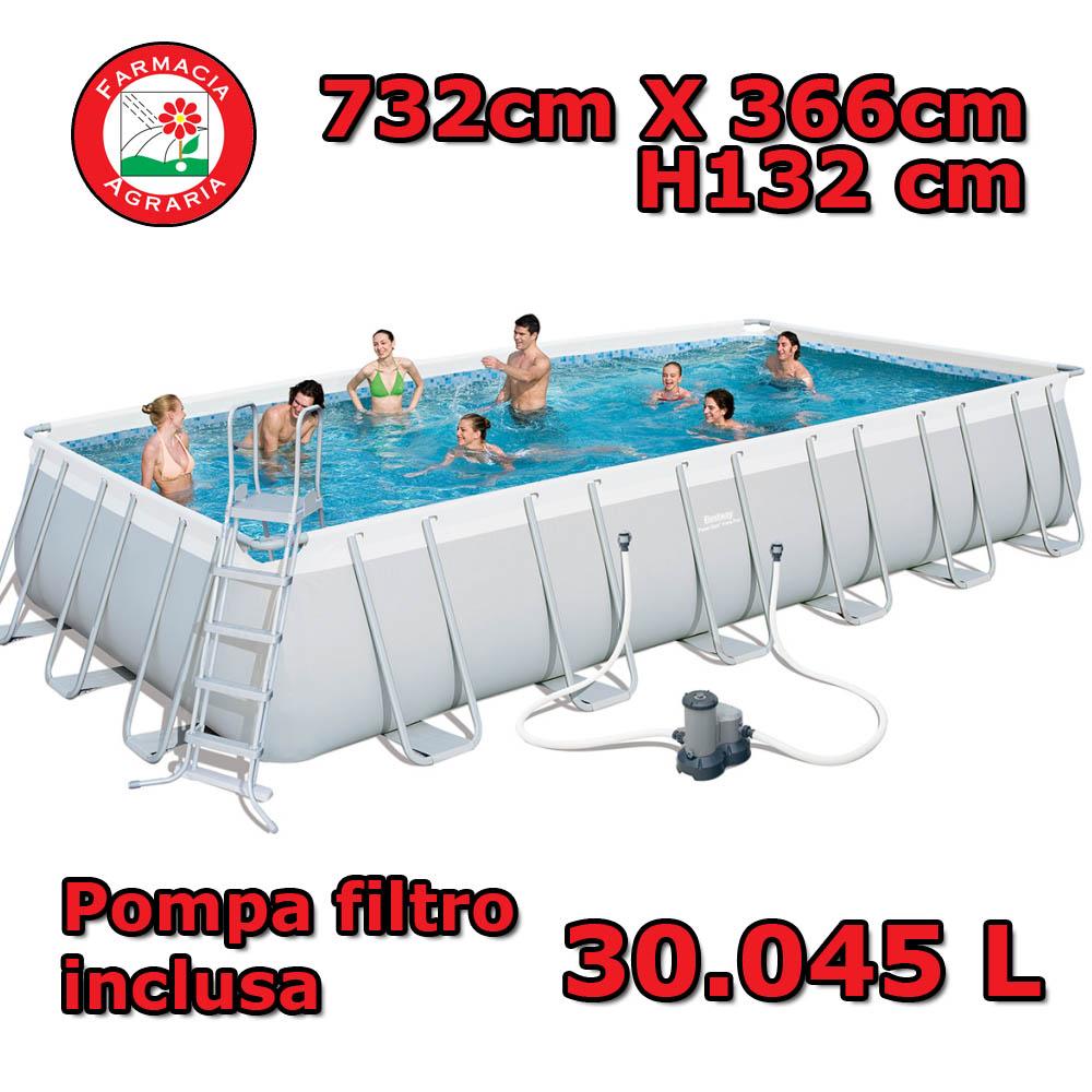 Piscina rettangolare fuori terra 732cm x 366cm x 132cm bestway - Tappeto per piscina fuori terra ...