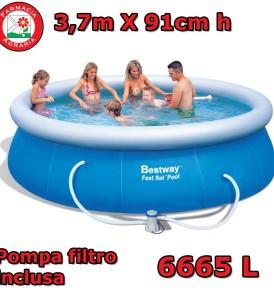 Piscina Fuori Terra Autoportante Bestway 3,66m X 91cm FAST SET Pompa Filtro Inclusa