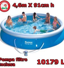 Piscina Autoportante Bestway 4,57m X 91cm FAST SET con Pompa Filtro Inclusa