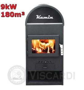 Stufa economica a legna KAMIN 9 kw 180 m³ con scaldavivande