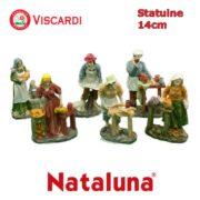 Statue Presepe 14cm NATALUNA 6 figure assortite dipinte in resina artificiale