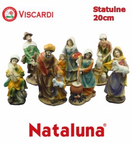 Personaggi Presepe 20cm NATALUNA 8 figure assortite dipinte in resina artificiale