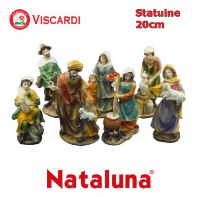 Personaggi Presepe 20cm NATALUNA 8 figure assortite dipinte in resina artificiale