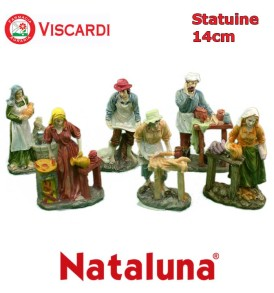 Statue Presepe 14cm NATALUNA 6 figure assortite dipinte in resina artificiale