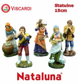 Pastori Presepe 15cm NATALUNA 5 figure assortite dipinte in resina artificiale