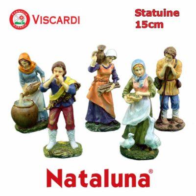 Pastori Presepe 15cm NATALUNA 5 figure assortite dipinte in resina artificiale