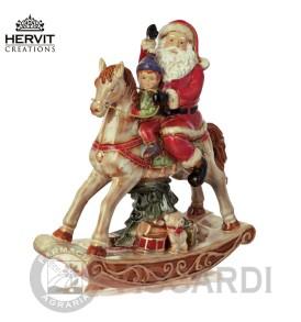 HERVIT Porcellana Cavallo a dondolo ceramica 23 cm con Babbo Natale
