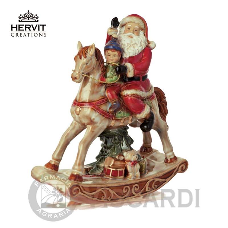Addobbi Natalizi Hervit.Hervit Porcellana Cavallo A Dondolo Ceramica 23 Cm Con Babbo Natale