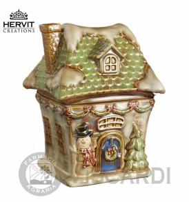 HERVIT Natale Contenitore a forma di casa in ceramica 20 cm