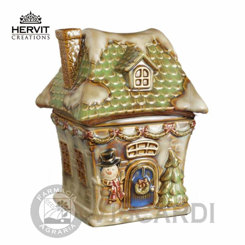 Addobbi Natalizi Hervit.Hervit Natale Contenitore A Forma Di Casa In Ceramica 20 Cm