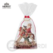 HERVIT Porcellana Cavallo a dondolo ceramica 14 cm con Babbo Natale