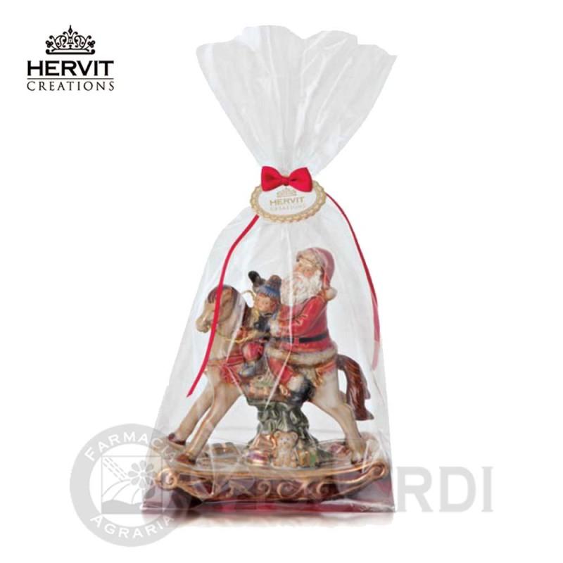 Addobbi Natalizi Hervit.Hervit Porcellana Cavallo A Dondolo Ceramica 14 Cm Con Babbo Natale