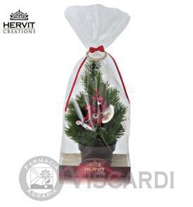 HERVIT Natale Pino 24 cm con decorazione cavallo in legno