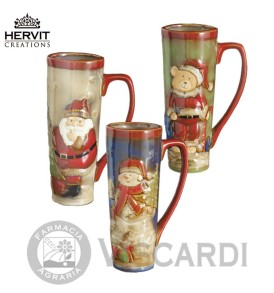HERVIT Natale Tazza 20 cm in ceramica con decoro in rilievo