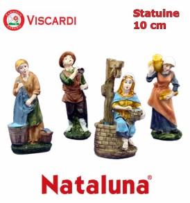 Statue per Presepe 10cm NATALUNA 4 figure assortite dipinte in resina artificiale
