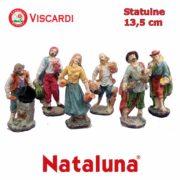 Pastori per Presepe 13,5cm NATALUNA 6 figure assortite dipinte in resina artificiale