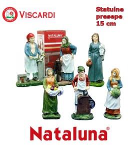 Personaggi per Presepe 15cm NATALUNA 6 Statuine assortite dipinte in resina artificiale