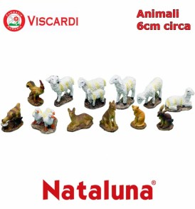 Animali Presepe 6cm circa NATALUNA 12 figure assortite dipinte in resina artificiale