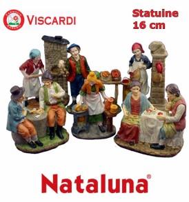 Statuine Presepio 16cm NATALUNA 6 figure assortite dipinte in resina artificiale
