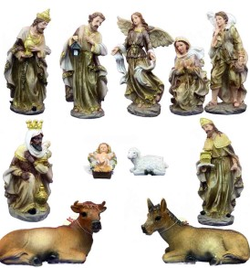 Set Presepe 40 cm NATALUNA 11 Statuine assortite in resina