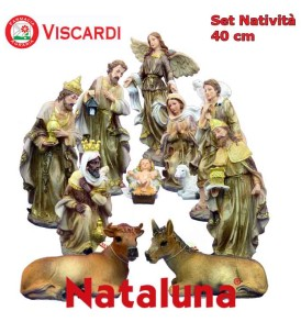 Set Natività Presepe 40 cm NATALUNA 11 Statuine assortite in resina