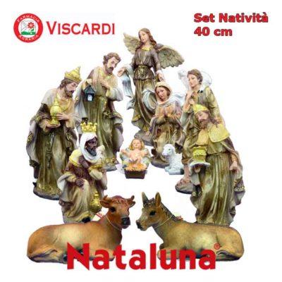 Set Natività Presepe 40 cm NATALUNA 11 Statuine assortite in resina